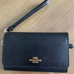 Coach black leather whistlet wallet